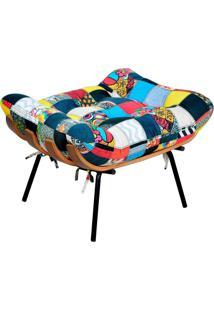 Puff Decorativo Sala De Estar Costela L02 Patchwork- Lyam Decor - Vermelho - Dafiti