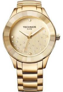 Relógio Technos Crystal Feminino Analógico - Feminino-Dourado