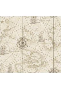 Papel De Parede Carta Gráfica Bege E Marrom Allegra Vinílico 53Cm X 10M Muresco