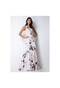 Vestido Longo Estampado Lança Perfume Vestido Rosa