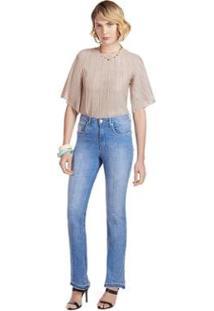 Calça Maria. Valentina Boot Cut M. Valentina Cós Alto Barra Desmanchada Jeans Feminina - Feminino