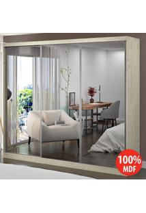 Guarda Roupa 3 Portas Com 3 Espelhos 100% Mdf 1904E3 Marfim Areia - Foscarini