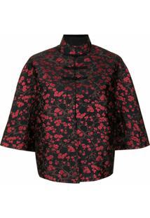 Shanghai Tang Blossom Jacquard Short-Sleeve Jacket - Preto
