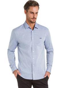 Camisa Tecido Plano Slim Fit Azul