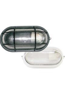 Arandela Tartaruga Oval 23Cm Alumínio E-27 1 Lâmpada Max 60W Com Grade Branca