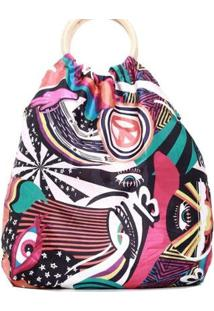 Bolsa Saco Com Estampa Exclusiva Alça Redonda 11108984 - Feminino