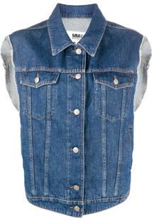 Mm6 Maison Margiela Colete Jeans Com Botões - Azul