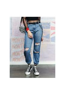 Calca Jogger Jeans Paete Lateral