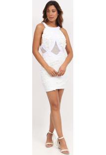 Vestido Com Paetãªs & Renda- Branco & Off White- Max Max Glamm