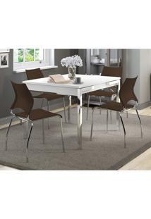 Mesa Extensível 1541 Branca Cromada Com 4 Cadeiras 357 Cacau Carraro
