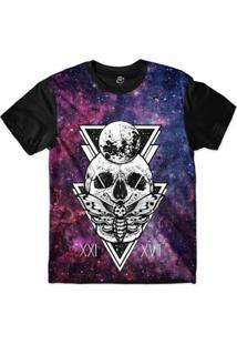 Camiseta Bsc Galáxia Caveira Borboleta Sublimada - Masculino