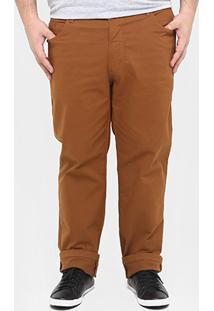Calça Preston Sarja Plus Size - Masculino-Caramelo