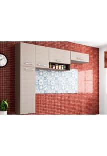 Cozinha Compacta Suspensa Anita 05 Portas Capuccino/Amêndoa - Poquema - Tricae