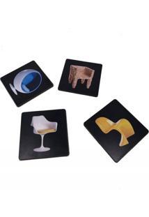 Kit Porta Copo Personalizado Decorativo Em Madeira Cadeiras - Tricae