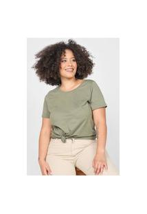 Camiseta Basicamente. Plus Size Lisa Verde