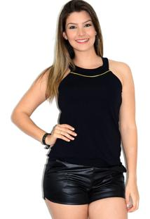 Blusa Up Side Wear De Alcinha Preta - Tricae