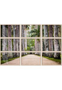 Quadro 180X270Cm Painel Jardim Botânico Palmeiras Moldura Natural Com Vidro