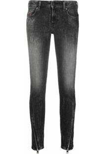 Diesel Calça Jeans D-Jevel Com Zíper - Preto