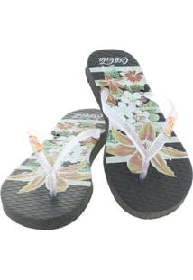 Chinelo Coca Cola Flower Stripes Feminino - Feminino-Preto+Branco