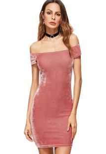 Vestido Diluxo Veludo Molhado Ombro A Ombro Rosa