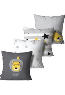 Kit Pump Up Com 4 Capas Para Almofadas Decorativas Infantil Cinza Leão Brave 45X45Cm