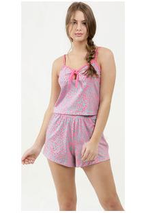 Pijama Feminino Neon Estampa Animal Print Alças Finas Marisa