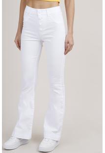 Calça Jeans Feminina Sawary Cintura Média Flare Branca