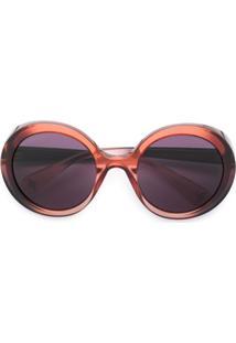 Gucci Eyewear Óculos De Sol Arredondado - Vermelho