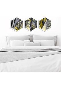 Kit 3 Quadros Com Moldura Hexagonal World