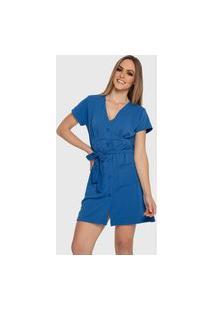 Vestido Carbella Julieta Com Cinto Botões Confort Azul Marinho Básico Casual