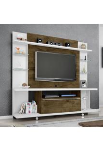 Estante Home Para Tv Até 55 Polegadas 1 Porta New Torino Móveis Bechara Branco/Madeira Rústica