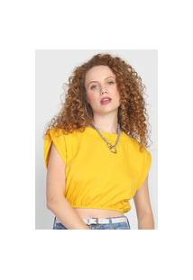 Blusa Cropped Colcci Logo Amarela