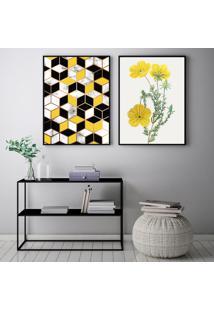 Quadro Oppen House 70X100Cm Abstrato Amarelo Flores Rosas Decorativo Interiores Sala De Estar Quartos Moldura Preta Com Vidro