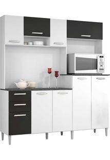 Cozinha Compacta Com 9 Portas E 2 Gavetas Gisele - Poquema - Branco / Preto