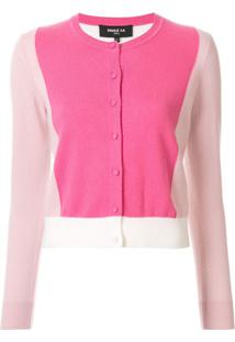 Paule Ka Cardigan Slim Color Block - Rosa