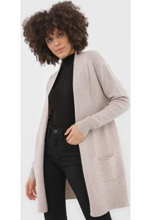 Cardigan Facinelli By Mooncity Tricot Bolsos Bege