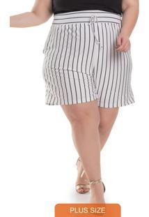 Shorts Feminino Plus Size Listrado Branco