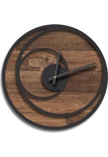 Relógio De Parede Premium Madeira Ripada Com Relevo Preto Ônix 50Cm Grande