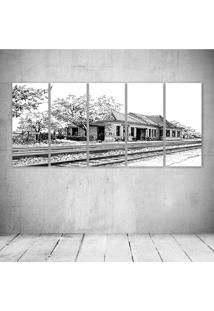 Quadro Decorativo - Train Station - Composto De 5 Quadros - Multicolorido - Dafiti