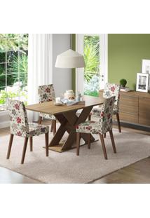 Conjunto De Mesa Com 4 Cadeiras Vermont Rústico E Hibiscos