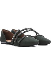 Sapatilha Dakota Bico Fino Tiras Feminina - Feminino-Verde