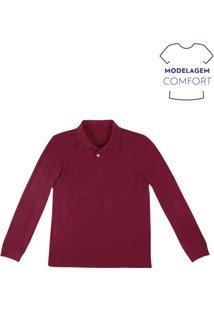 Camisa Polo Masculina Básica De Manga Longa Em Modelagem Comfort