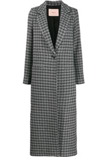 Twin-Set Fitted Single-Breasted Coat - Cinza