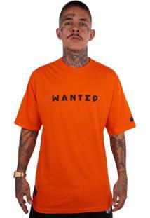 Camiseta Wanted Ind Logo Frontal Laranja