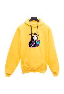 Blusa De Frio Moletom Caveira Nexstar Desenho - Amarelo