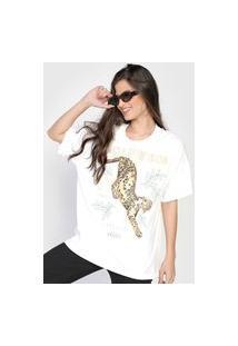 Camiseta Colcci Onça Pintada Branca