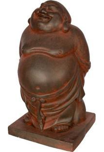 Escultura Buda Feliz 44Cm   Fibrocimento