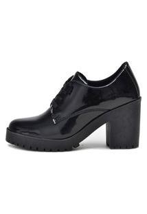 Botinha Ankle Boot Bota Salto Macshoes 5201-Preta Verniz