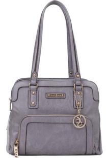 Bolsa Com Recortes & Bag Charm- Cinza- 26X32X15Cmfellipe Krein