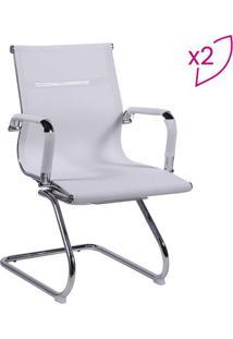 Jogo De Cadeiras Office Eames- Branco & Prateado- 2Por Design